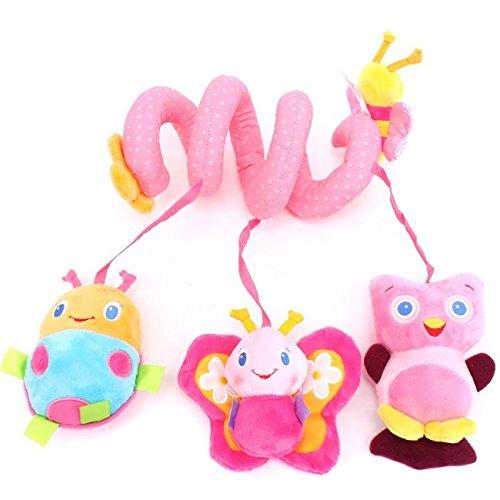 EJY Baby Plüschtiere, Kleinkindspielzeug,Beschwichtigen Schlaf Spielzeug,Kinderwagen, der Spielzeugauto-Drehmaschine hängenden Baby Rasseln, Rosa Bienen-Spielzeug für Babys