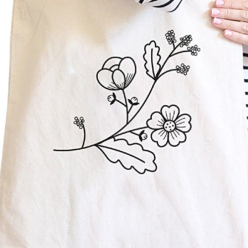 365 Printing inc , Borsa da spiaggia  Donna Flower Natural Flower Natural