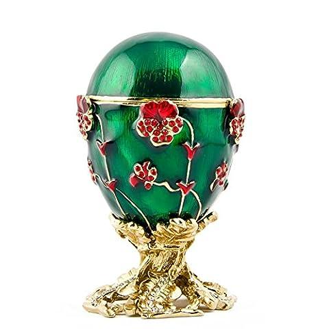 Pensées Royal russe Egg- émaillé Jewelry Boîte à bijoux (Smalto Jeweled Trinket)