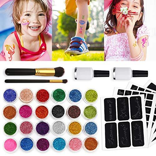 Skymore kit tatuaggio temporaneo, kit tatuaggi glitter, kit tatuaggi temporanei glitter per bambini e adulti, 24 glitter grandi & 108 stencil riutilizzabili per party halloween fiabe frozen