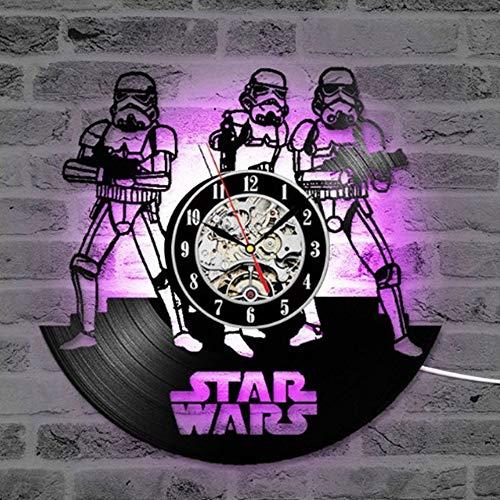 Wanduhr - Star Wars LED Schallplatte Wanduhr Bunten Stil 8 34 * 34 * 4,5 cm