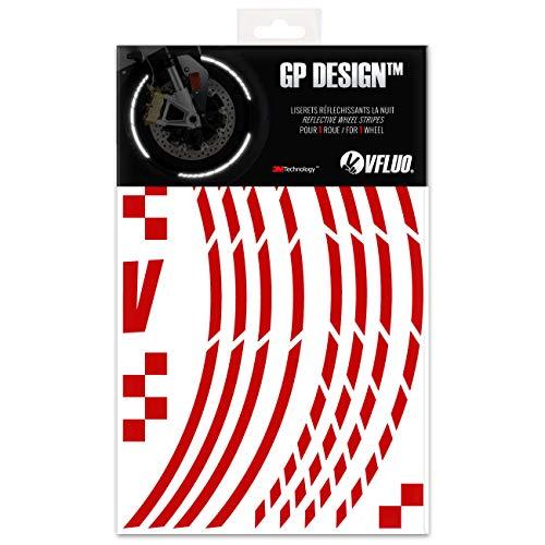 VFLUO GP DesignTM, Motorrad Retro reflektierende Felgenrandaufkleber Kit (1 Felge), 3M TechnologyTM, 7mm breit, Rubin Rot -
