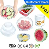 CHRONEX (PACK OF 6) Multi-Purpose Silicone Storage Covers Various Sizes Silicone Stretch Lids For Bowl, Can, Jar, Glassware, Food Saver Covers Safe In Dishwasher, Microwave And Freezer (TRANSPARENT)