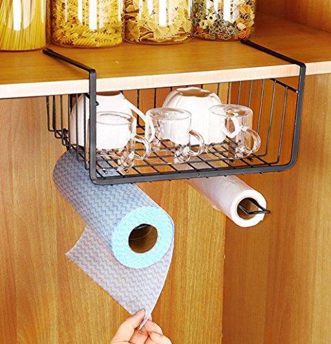 Fecihor Aufbewahrungskorb für Küchen, Starker Schrankkorb Regalkorb aus Draht,19x29x26 cm,Schwarz