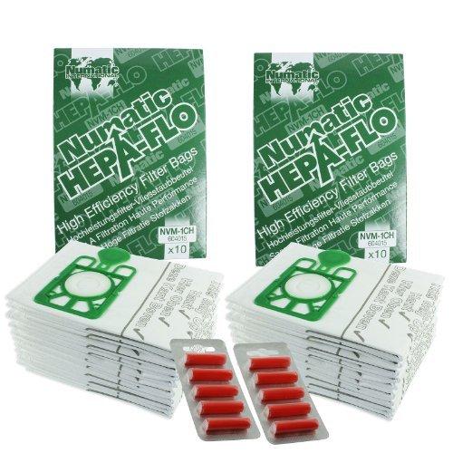 Sacchetti Aspirapolvere E Filtri HEPA Per Numatic Henry Hetty etc. (Confezione da 10, 20 o 40 pezzi + Deodorante Stick Opzionale) - 20 sacchetti + 10 deodoranti - Borsa Deodorante