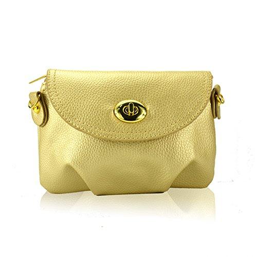 GSPStyle Damen Schultertasche Umhängetasche Purse Mini Handtasche Stil Golden