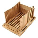 Guida per affettatrice di pane, guida per affettatrice di pane in bambù con vassoio di raccolta delle briciole, design pieghevole, tenere pulito il contatore