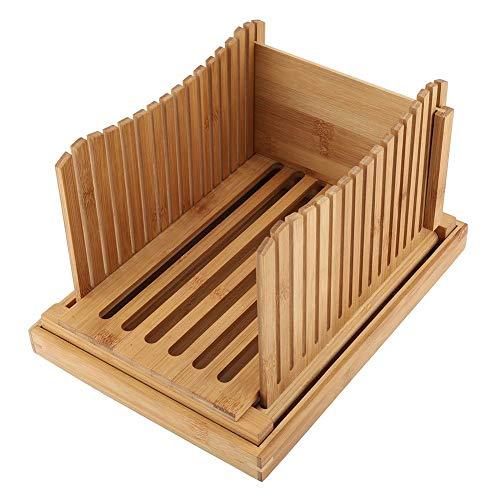 Bambus Brotbrett, Brotschneidebrett mit Krümelfach zur leichten Reinigung, 31,7 x 23,7 x 19 cm