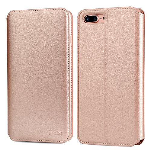 IPHOX Handy 7 Lederhülle, iPhone 8 Schutzhülle, Ultra Slim, Ständer, Kartenfächern, Magnetverschluss, Handyhülle Tasche Leder Flip Case für Apple iPhone 7/8 Cover (4,7 Zoll) - Rosegold
