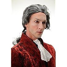 WIG ME UP ® - 4287-P103-68 Peluca Halloween Carnava Barroco gris marengo noble poeta condo Dracula vampiro