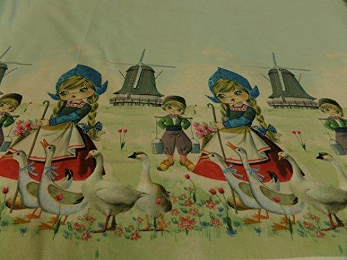Generic Kinderstoff Holland-Mädchen Baumwoll-Jersey 95% BW/5% EL je 50 cm mit Bordüre beidseitig