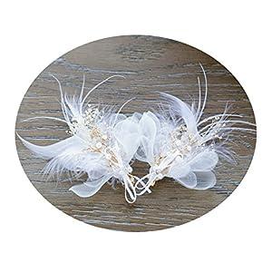 AmDxD Vergoldet Haarschmuck Hochzeit Feder Perlen Blume Zirkonia Haarspangen Damen Weiß
