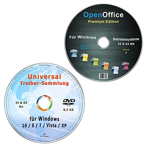 Universal Treiber-Sammlung für Windows 10-8-7-Vista-XP (32 & 64 Bit) alle PC & Notebook Modelle + OpenOffice Premium Edition (2 CD/DVD-Set)