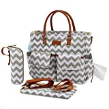 Kattee Multifunktionale Wickeltasche mit Wickelunterlage, wasserdichte Baby Windeltasche Mama Umhängetasche Handtasche für Flaschen, Windeln, Babykleidung(Hellgrün-Weiß-Streifen)