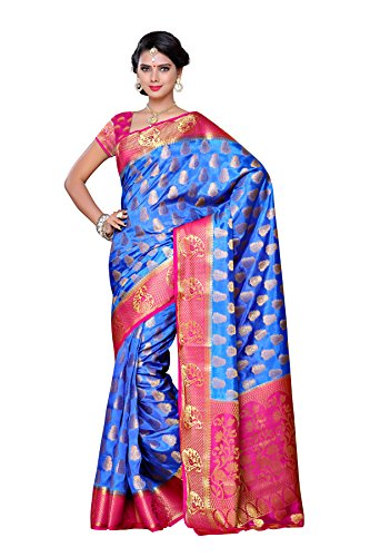 Mimosa Women's Traditional Art Silk Saree Kanjivaram Style With Blouse Color:Royal Blue(3299-224-RBLU-RNI )  available at amazon for Rs.1899