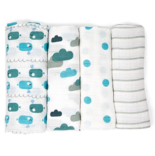 Emma & Noah Mullwindeln, 4er Pack, 100% Baumwolle, 80 cm x 80 cm, kuschelig weiche Baby Spucktücher, Farbe: Blau, ideal als Mulltücher, Stoffwindeln, Molton-Tücher, Stilltuch, Schmusetuch
