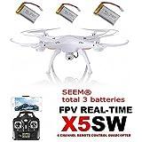 Syma X5SW 4CH 2.4G 6-Axis Gyro Headless Soporte móvil, Wifi FPV HD de 2MP cámara de 360 grados 3D balanceo Modo 2 RTF RC Quadcopter, con 3 baterías(1 batería original+2 baterías de SEEM®)