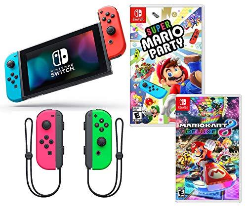 Nintendo Switch Super Mario Kart & Party Bundle: Nintendo Switch mit neonroten und blauen Joy-Con, Super Mario Party, Mario Kart 8 Deluxe, Extra Neon Grün und Gelb Joy-Con