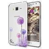 Samsung Galaxy Grand Prime Hülle Handyhülle von NALIA, Slim Silikon Motiv Case Cover Crystal Schutzhülle Dünn Durchsichtig, Etui Handy-Tasche Backcover Transparent Bumper, Designs:Dandelion Pink