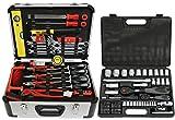 FAMEX 734-47 Alu Werkzeugkoffer mit Universal Werkzeugbestückung und Steckschlüsselsatz 4-32mm