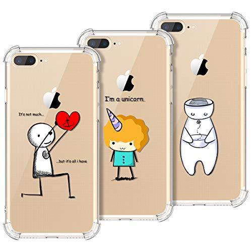 KOTPARX Kompatibel mit Hülle iPhone 7 Plus/iPhone 8 Plus Silikon Transparent Durchsichtig Handyhülle Schutzhülle TPU Ultra Dünn Slim Kratzfest mit Motiv Muster - Roboter + Herz + Einhorn