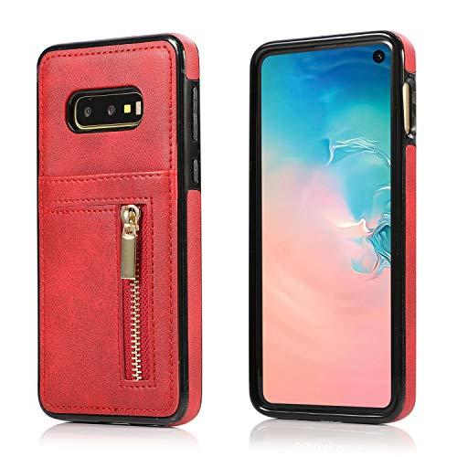 Yobby Hülle für Samsung Galaxy S10e,Ultra Slim Retro PU Leder Brieftasche Handyhülle mit Kartenfach Rückseite und Reißverschluss,Stoßfest Bumper Schutzhülle für Samsung Galaxy S10e-Rot -