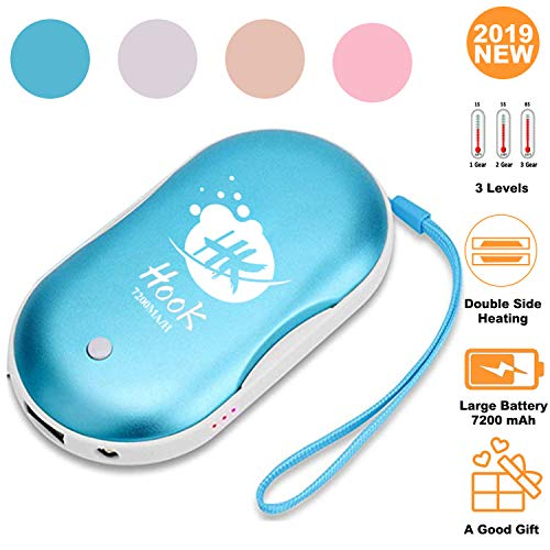 Hook Handwärmer USB, Taschenwärmer Kinder Powerbank Wiederverwendbar handwarmer Elektrisch Wiederaufladbar 7200mAh Akku mit LED Taschenlampe Große Kapazität und doppelseitige Heizung Taschenhandwärmer