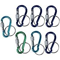 TOOGOO(R) 7 Pcs 5# vis de verrouillage Mini Multicolore aluminium Crochet mousqueton avec porte-cles