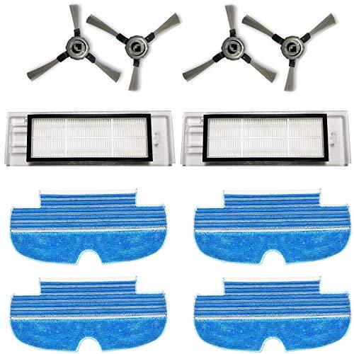 Zealing Kit de remplacement avec 2 filtres + 4 brosses latérales + 4 serpillères pour le nettoyage du robot aspirateur Proscenic D550 / 880T
