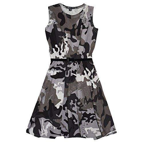 n Skater Kleid Kinder Sommer Party Mode Kleider - Skater Sleeveless Camo Charcoal 11-12 ()