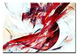 Berger Designs Bild auf Leinwand als Kunstdruck in Verschiedenen Größen. Abstrakt in Rot und Weiss. Beste Qualität aus Deutschland (120 x 80 cm (BxH))