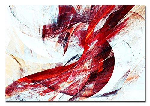 Berger Designs - Bild auf Leinwand als Kunstdruck in verschiedenen Größen. Abstrakt in Rot und Weiss. Beste Qualität aus Deutschland (120 x 80 cm (BxH)) (Abstrakte Kunst Rot)