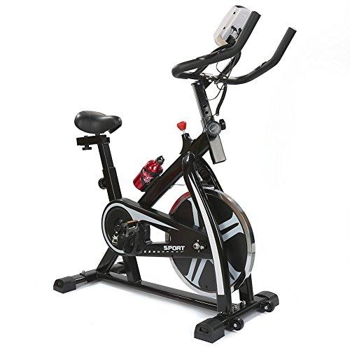 Wefun Heimtrainer, LED-Bildschirm,kommt mit Herzfrequenz-Test, Verstellbaren Lenkern und Sitz (Schwarz-Weiß)