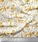 Soimoi Orange Poly Georgette Stoff Bonbons, Bell & Flitter