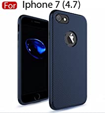 MOBISTYLE - Ultra Thin Carbon Fiber TPU 360 degree all side protection Case Cover For iphone 7 (Blue)