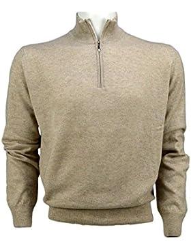 Jerséi - Suéter de cachemira y lana para hombre - Zip y parche - Iacobellis Made in Italy