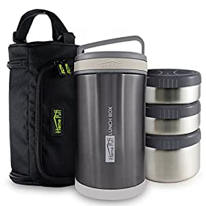 Home Puff Double Wall Vacuum Insulated - Stainless Steel Lunch Box With 3 Leak Proof,1700 Ml - Grey