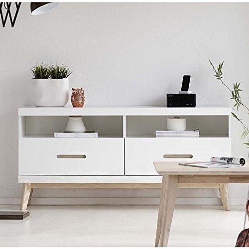 JAZZ Meuble TV scandinave en MDF laqué blanc mat + pieds en chene naturel laqué blanchi - L 145 cm