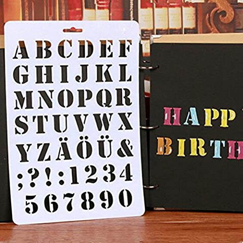 Gloryhonor Lettre Alphabet Nombre creux Pochoirs Peinture Scrapbooking Cartes de visite papier craft 20.7cm x 30.7cm/8.15