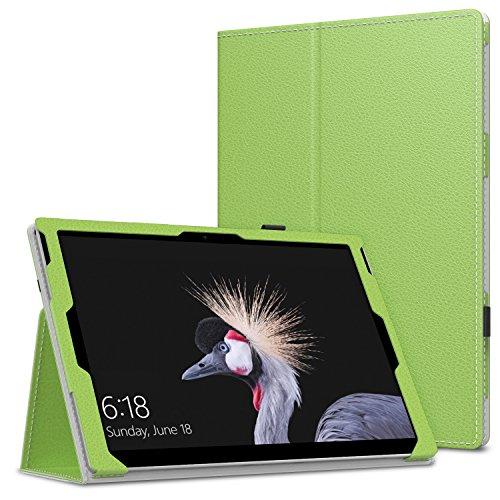 MoKo Microsoft Pro 4 / Surface Pro 2017/Pro LTE/Pro 6 Hülle - PU Leder Ständer Tasche Schutzhülle mit Stift-Schleife/Standfunktion für Surface Pro 3 Tablet-PC, Grün