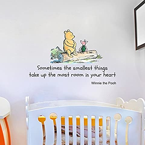 Winnie the Pooh Sometimes the Smallest Things Quote Children's Room Kids Room Playroom Nursery Wall Sticker Wall Art Vinyl Wall Decal Wall Mural -LARGE Size (Regular size also available)