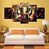 #5: Ganesha Split Painting / 5 Frames / wall art panels for living room Wall Décor / Home Decor Ganesh ji for living room pooja ghar / Beautiful Wall Hangings that bring Style to your Surroundings / Small by PRINTELLIGENT (10 x 20 inches)