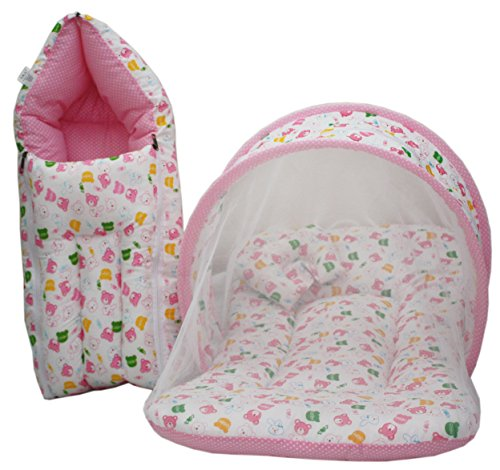 Amardeep Baby Mattress with Mosquito Net, Sleeping Bag Combo 0-3 Months (pink)