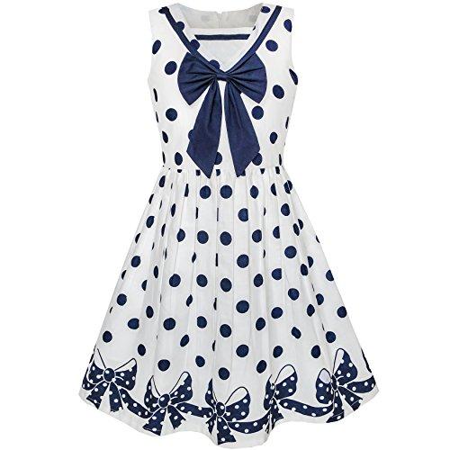 Kleid Blaue Uniform (Mädchen Kleid Marine Blau Punkt Bogen Binden Zurück Schule Uniform Gr. 116)
