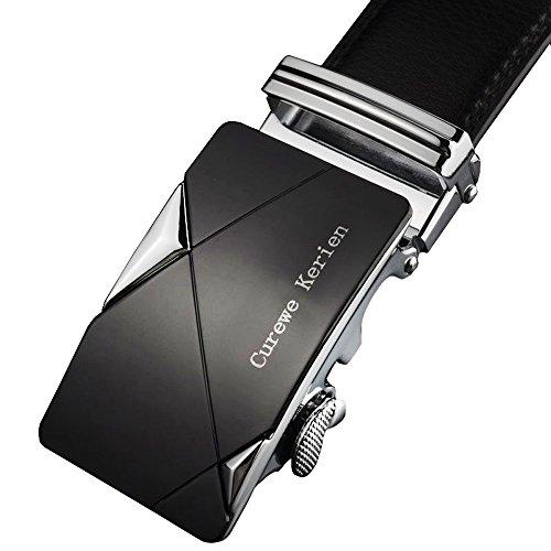 Rcool Herren Leder automatische Schnalle Gürtel Luxus Taille Gurt Gürtel Bund (Black), L, (Mode 80er Jahre Mann)