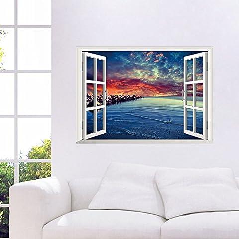 orderin nuevo adhesivo de pared, Creative 3d falso ventana Fire Nube playa habitación Antecedentes extraíble Mural para pared decoración del hogar