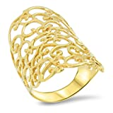 Goldring Massiv Gold 585 14 Karat Damen Breiter Band - Ring Gelbgold Gr 56