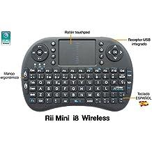 Rii Mini i8 Wireless (layout Español) - Mini teclado ergonómico con ratón touchpad para Smart TV, Mini PC Android, PlayStation, Xbox, HTPC, PC, Raspberry Pi