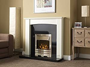 Electric Silver Fire White Curved Surround Black Granite Hearth / Back Panel Wall Fireplace Suite 48""