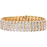 Naava 3 ct Diamond Pave Setting Bracelet in 9 ct Yellow Gold